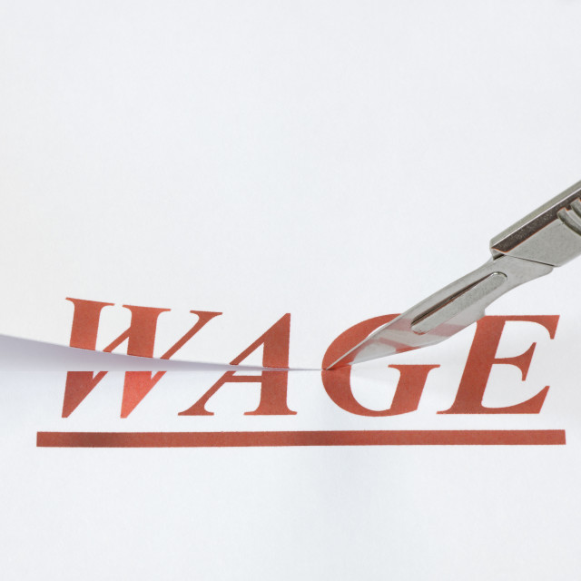 """A Cut in Wages"" stock image"