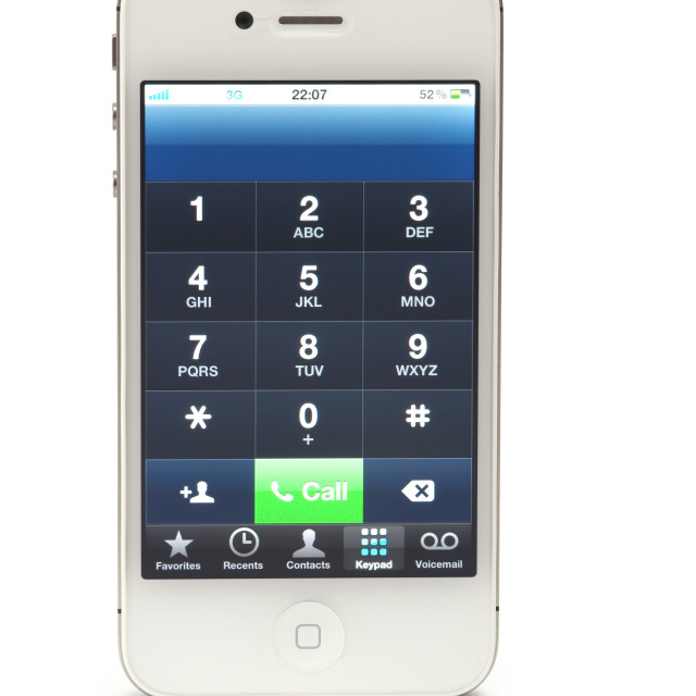 """""""Dial number on iPhone 4"""" stock image"""