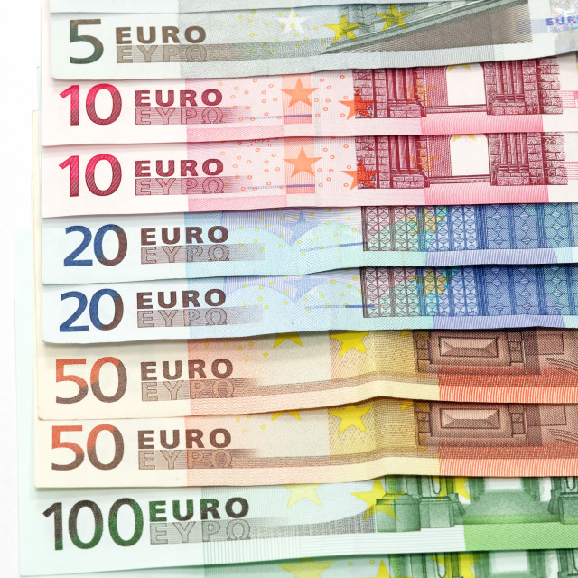 """Euro banknotes as background"" stock image"