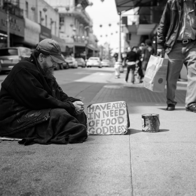 """""""A homeless man in San Francisco"""" stock image"""