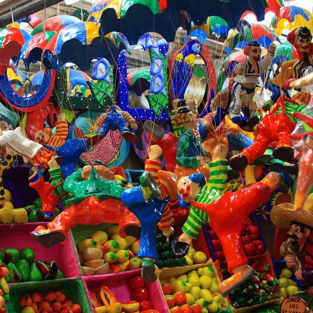 """Clowning Around at the Market"" stock image"