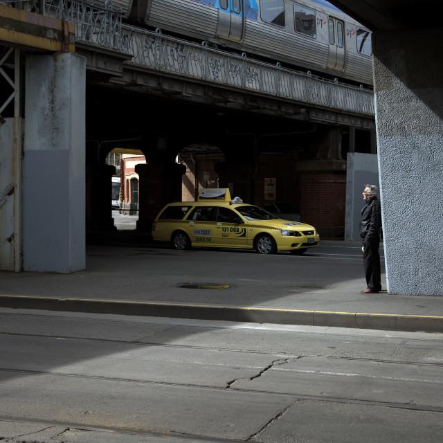 """""""Waiting Under The Bridge"""" stock image"""