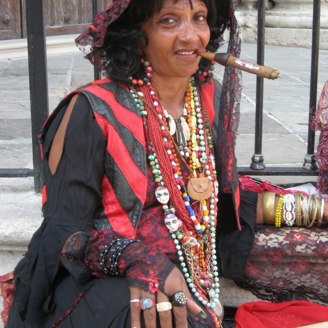 """Santeria priestess, Havana"" stock image"