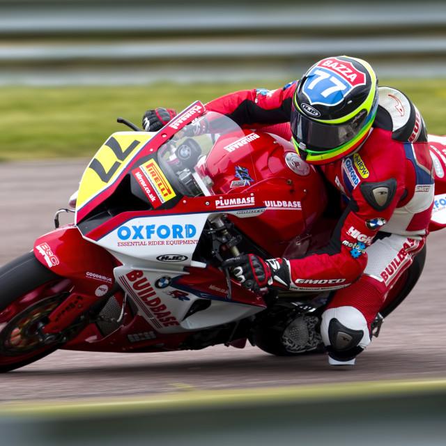 """""""British Superbike rider Barry Burrell."""" stock image"""