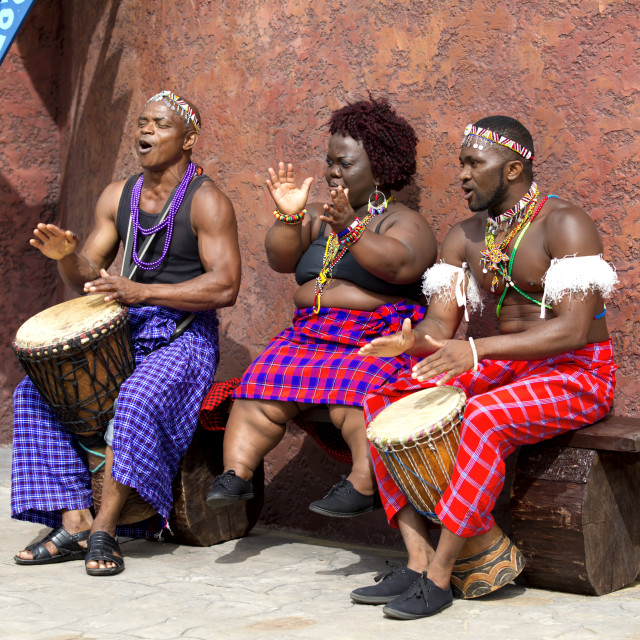 """African Musicians at Longleat Safari Park."" stock image"
