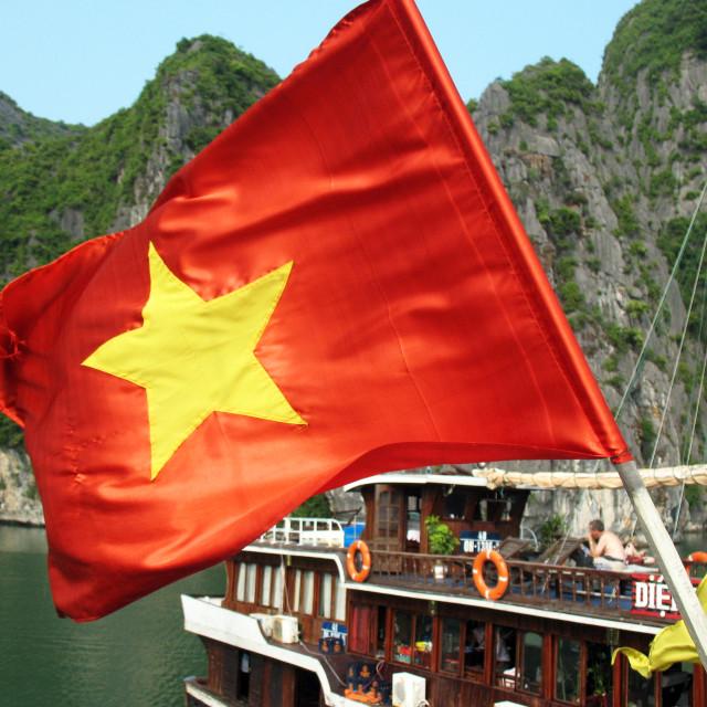"""Vietnamese Flag, Halong Bay"" stock image"