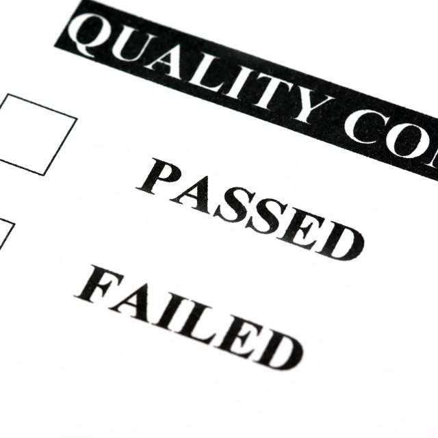 """Quality control failed"" stock image"
