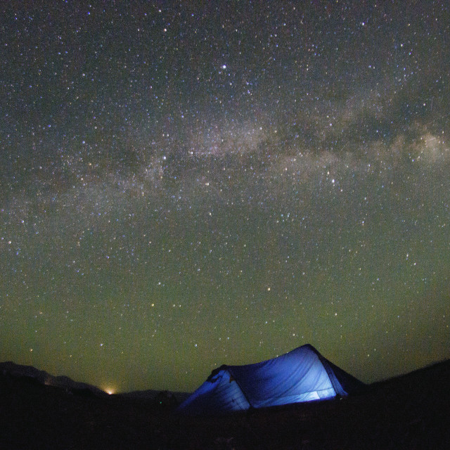 """Camping under the Milky Way"" stock image"