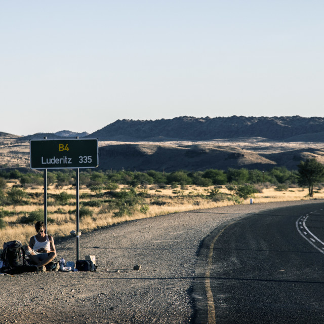 """Hitchhiking in Namibia"" stock image"