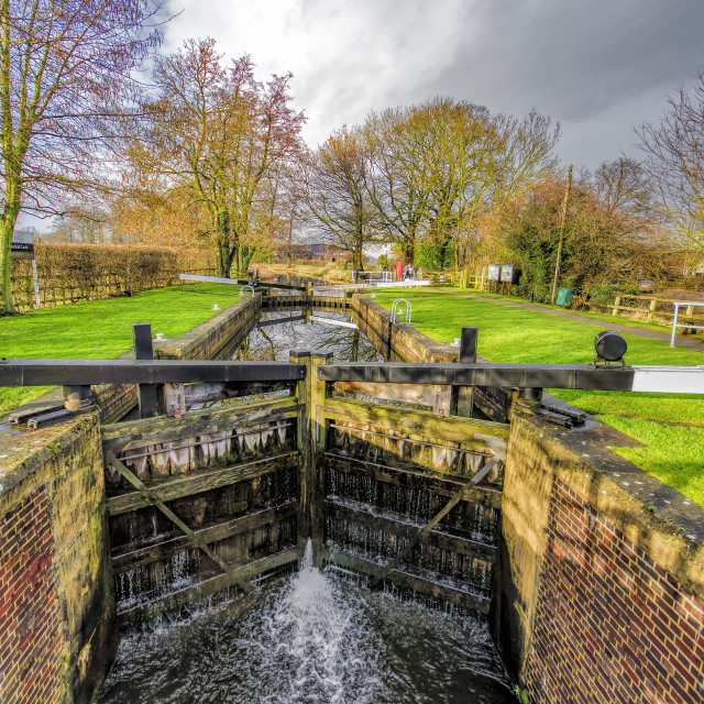 """The Lock Ripon Canal"" stock image"