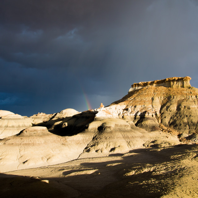 """Rainbow in the Bisti/De-Na-Zin Wilderness"" stock image"