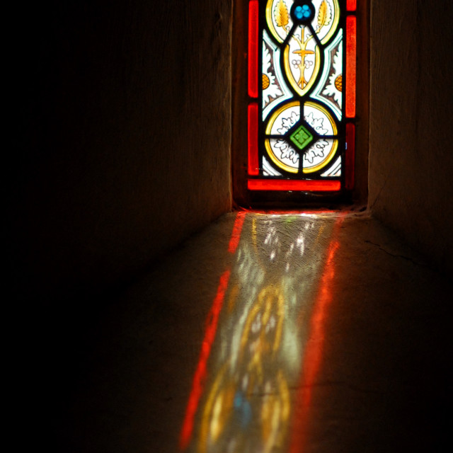 """Stained glass reflection"" stock image"