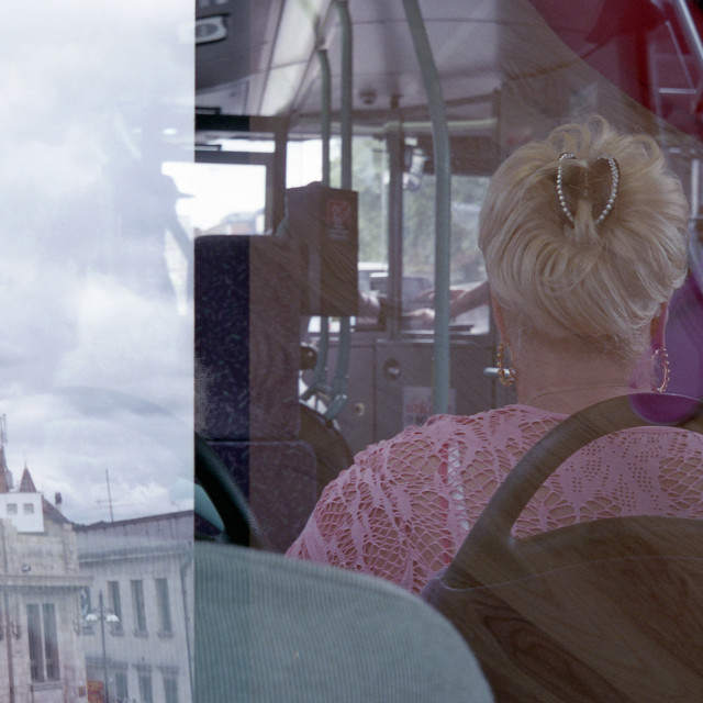 """""""Woman on a Bus, 2014"""" stock image"""
