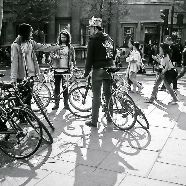 """Men & Bikes"" stock image"