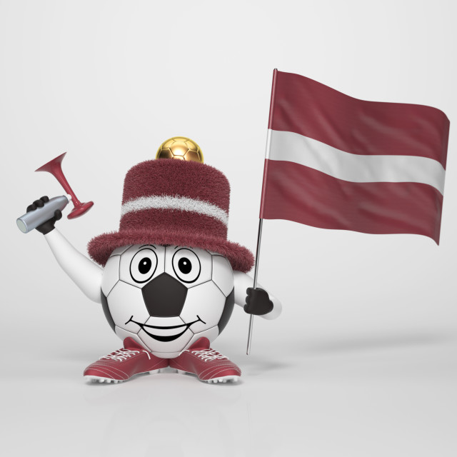 """Soccer character fan supporting Latvia"" stock image"