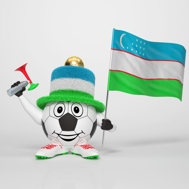 """Soccer character fan supporting Uzbekistan"" stock image"