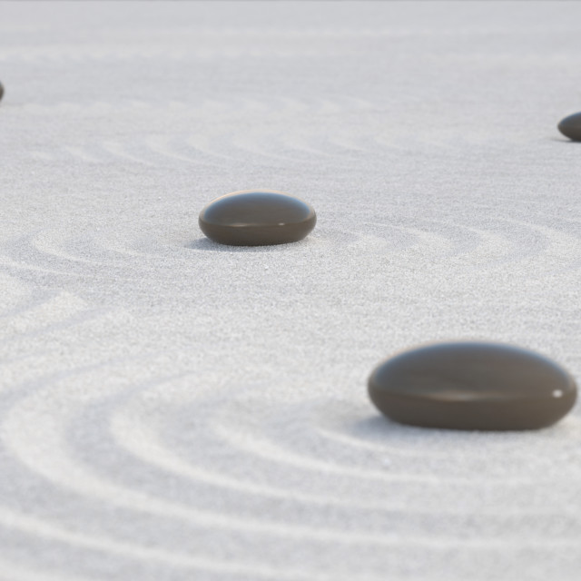 """Dark Zen stones on a wide sands"" stock image"