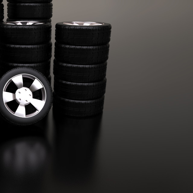 """Several stacks of car tires"" stock image"