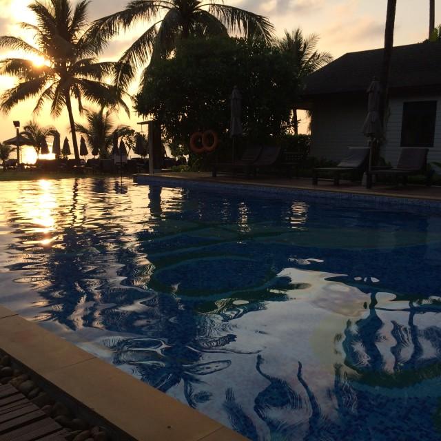 """Pool sunset"" stock image"