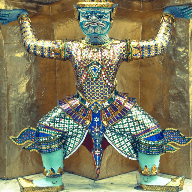 """Temple guard, Bangkok"" stock image"