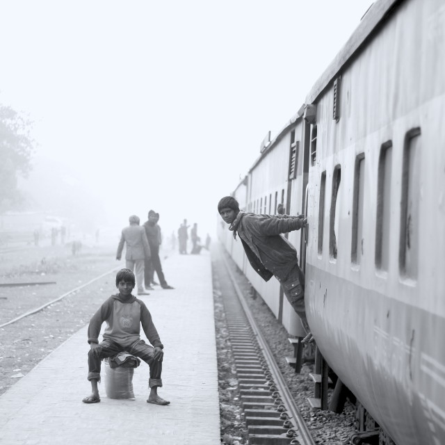 """Train Boys!"" stock image"