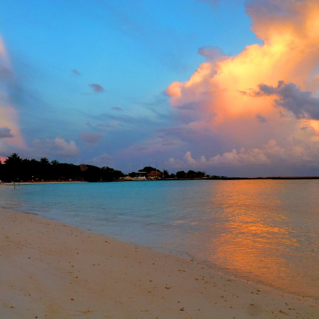 """Maldivian beach at sunset"" stock image"