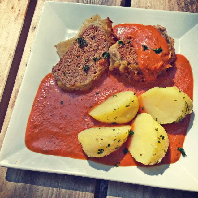 """""""Minced beef roll with boiled potatoes and tomato sauce"""" stock image"""