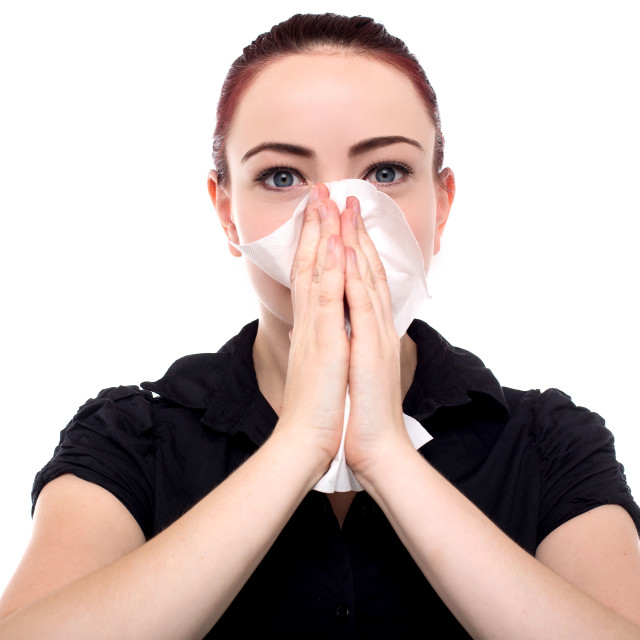 """""""Businesswoman blowing her nose"""" stock image"""