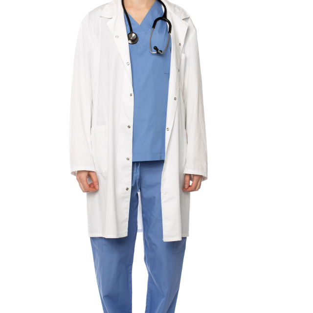 """""""Female medical practitioner wearing white coat"""" stock image"""