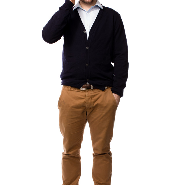"""""""Confident young man chatting on his mobile"""" stock image"""