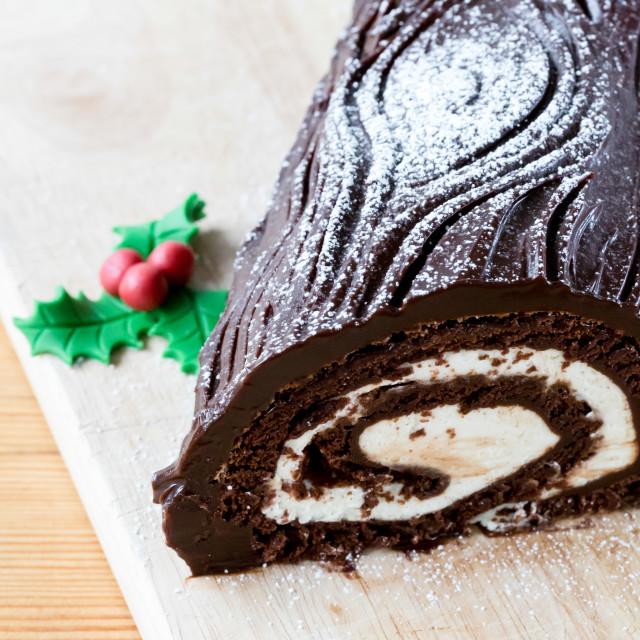 """Chocolate rolled cake filled with vanila cream"" stock image"