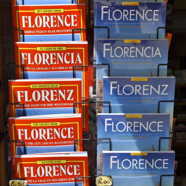 """Guide Book Stand, Florence"" stock image"