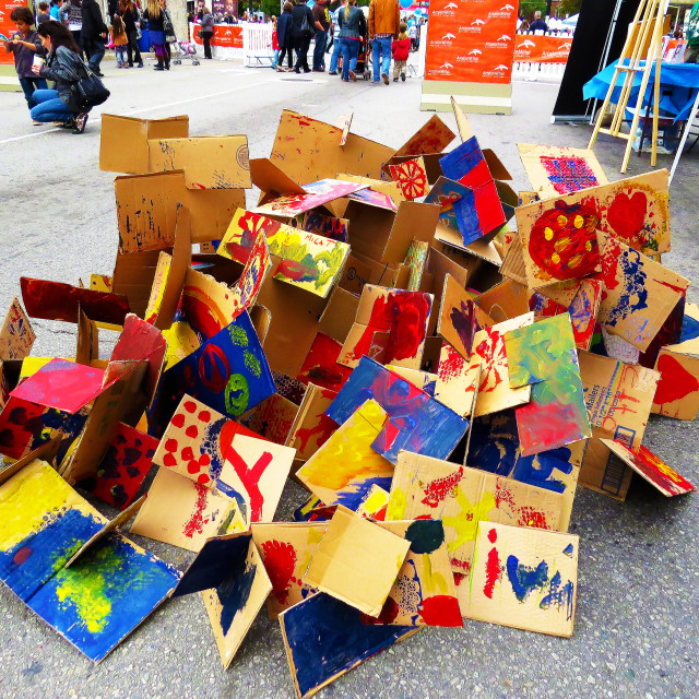"""""""Cardboard Painting Collage"""" stock image"""