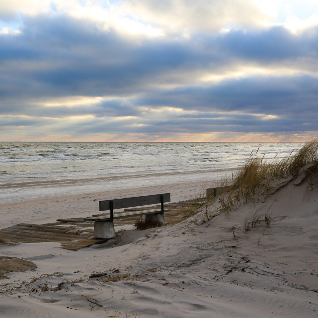 """""""Sandy beach on a cold day"""" stock image"""