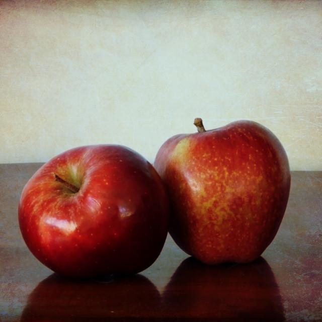 """Two red apples on the table"" stock image"