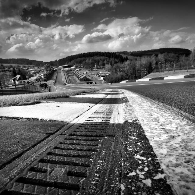 """Eau Rouge: Spa-Francorchamps"" stock image"