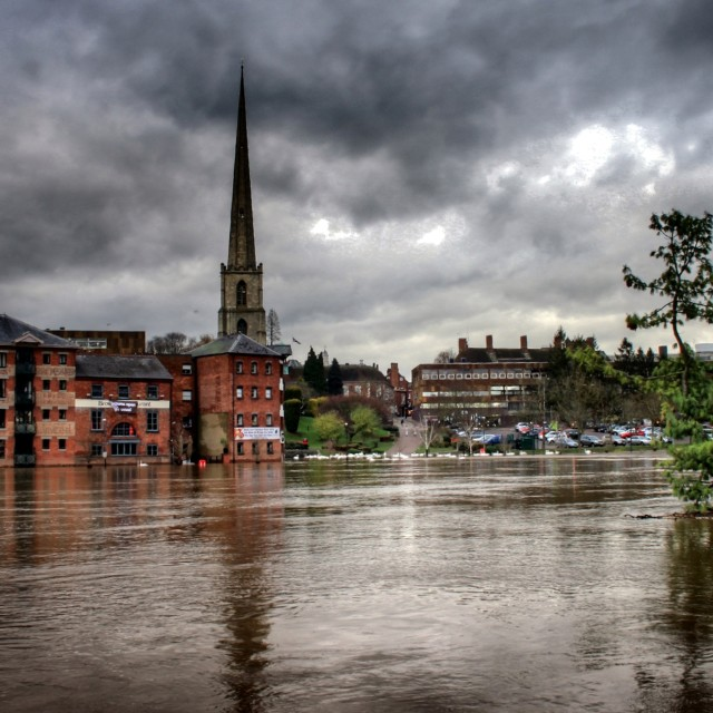 """""""Worcester in Flood"""" stock image"""