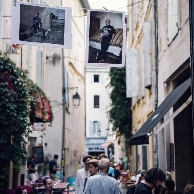 """""""Street Gallery, Arles"""" stock image"""