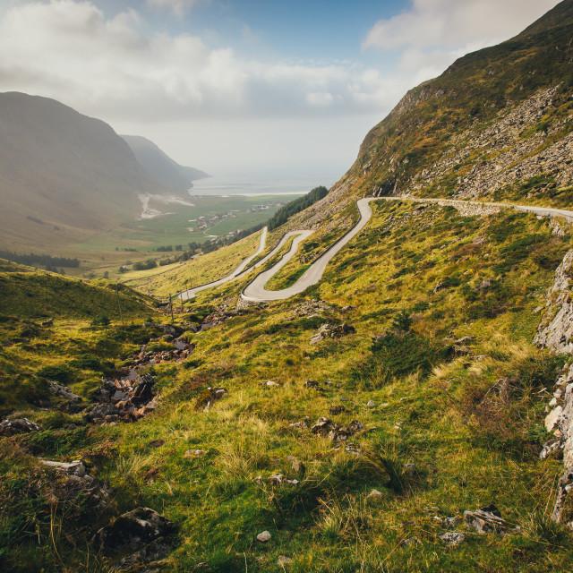 """The road to Hoddevik"" stock image"