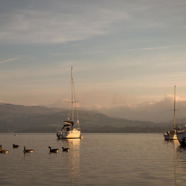 """""""Lake Windermere Sunrise."""" stock image"""