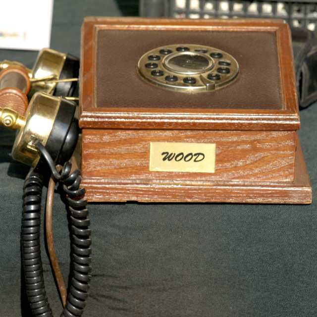 """old wooden phone"" stock image"