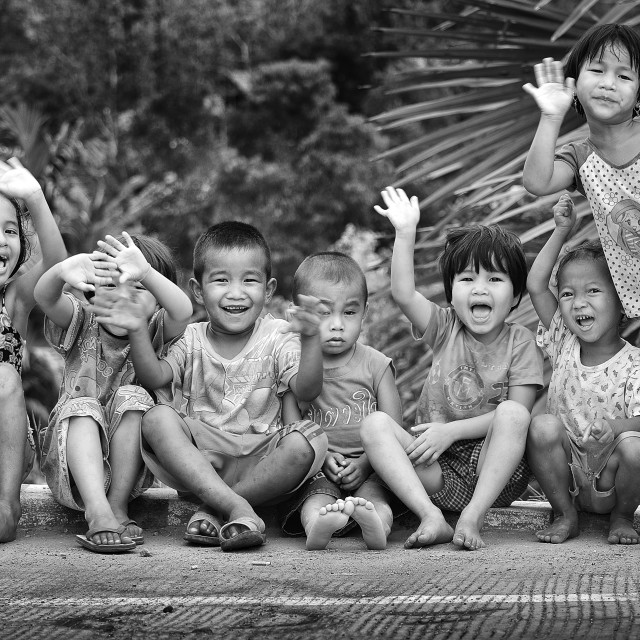 """Thailand country children smile and laugh in an happy hour."" stock image"
