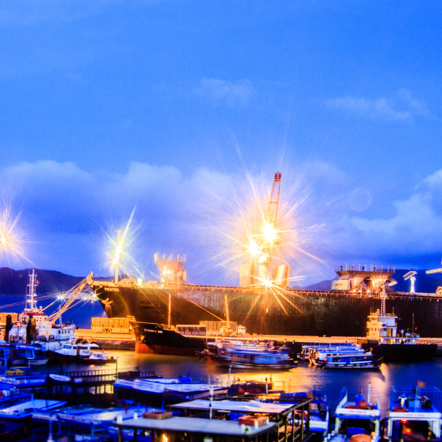 """""""NIGHT AT THE PORT"""" stock image"""