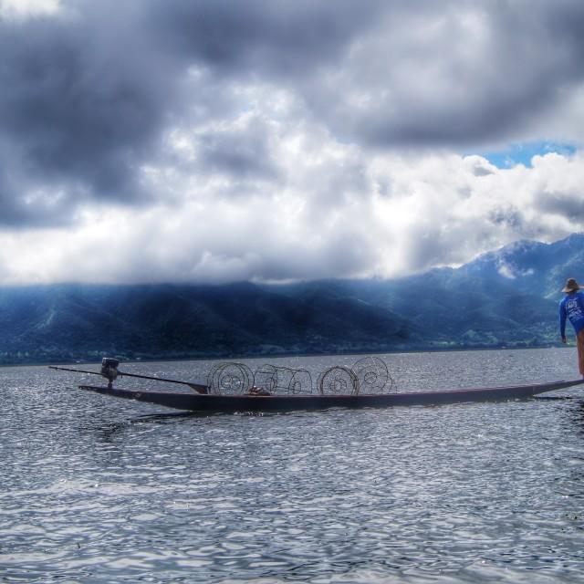 """Burmese Fisherman"" stock image"