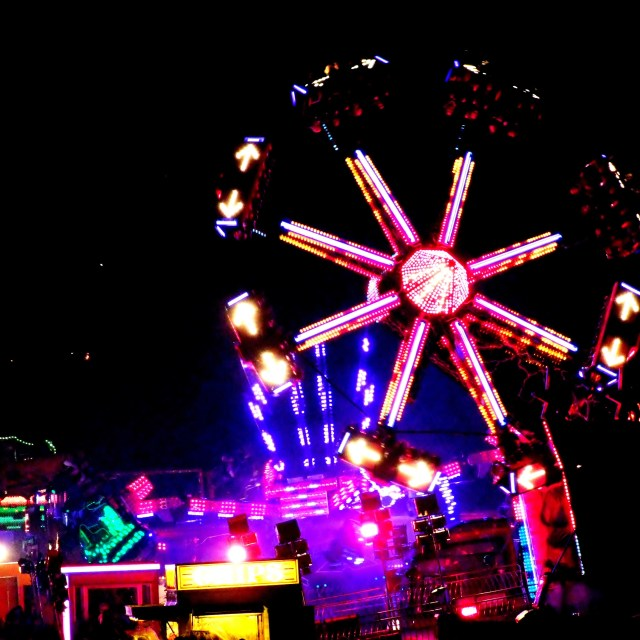 """fairground at night"" stock image"
