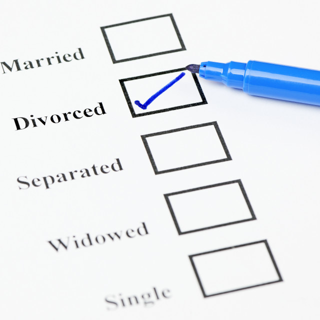 """Marital Status Check List. Divorced"" stock image"