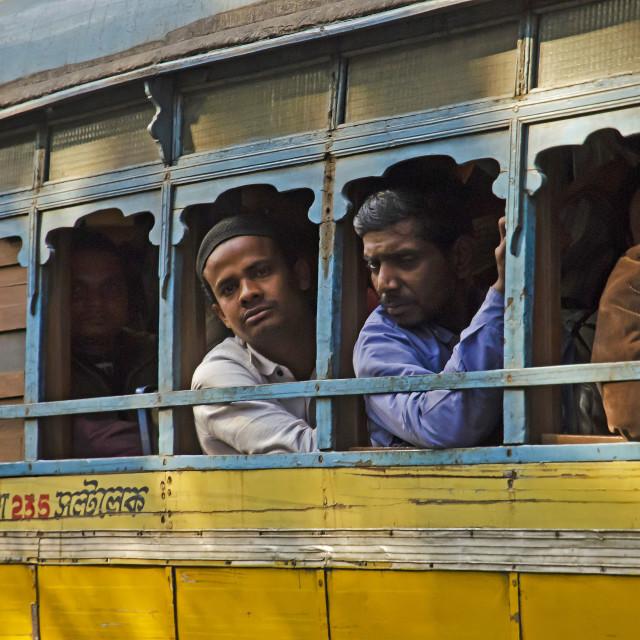 """BUS PASSENGERS"" stock image"