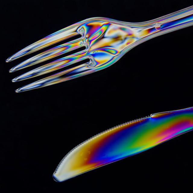 """Polarised Plastic Knife and Fork"" stock image"