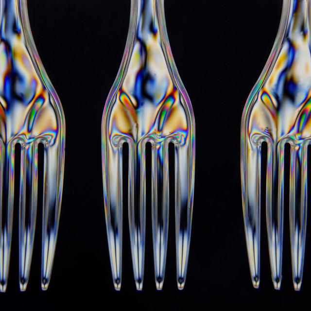 """Polarised Plastic Forks"" stock image"