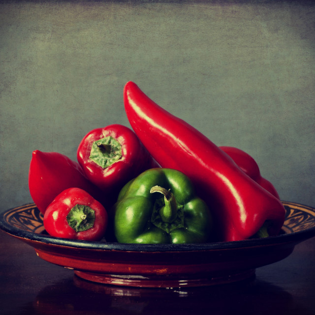 """""""Red and green peppers on a tray"""" stock image"""